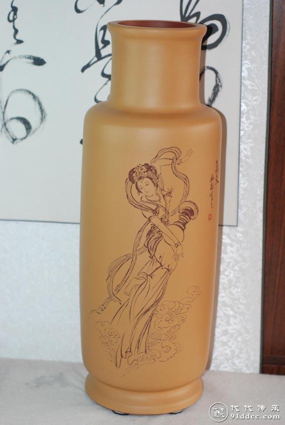 【飞天】江林献紫砂对瓶陶刻欣赏